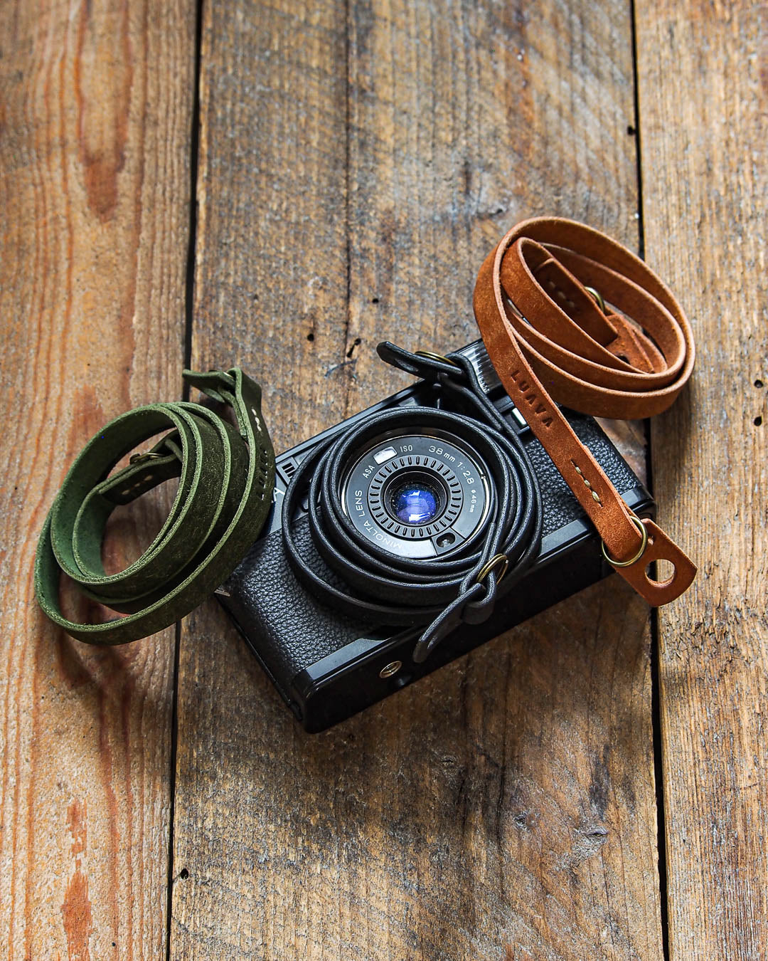 Luava handcrafted leather slim fixed camera strap badalassi carlo pueblo olive black cognac