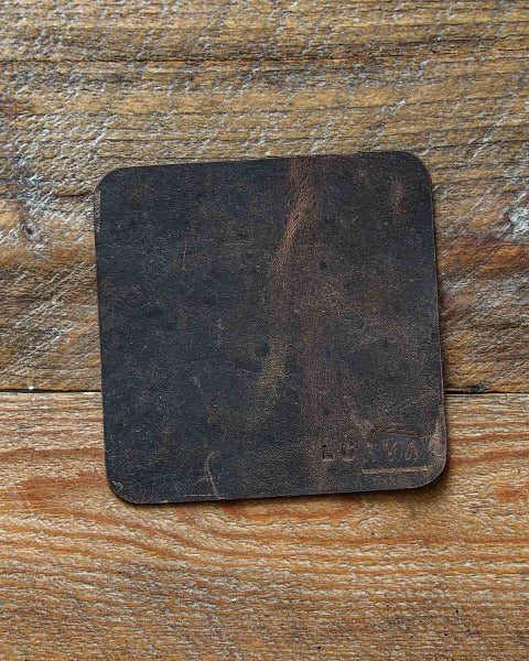 Luava leather coaster rustic rugged handmade