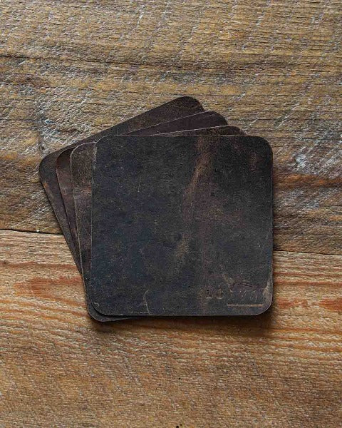 Luava leather coaster rustic rugged handmade set