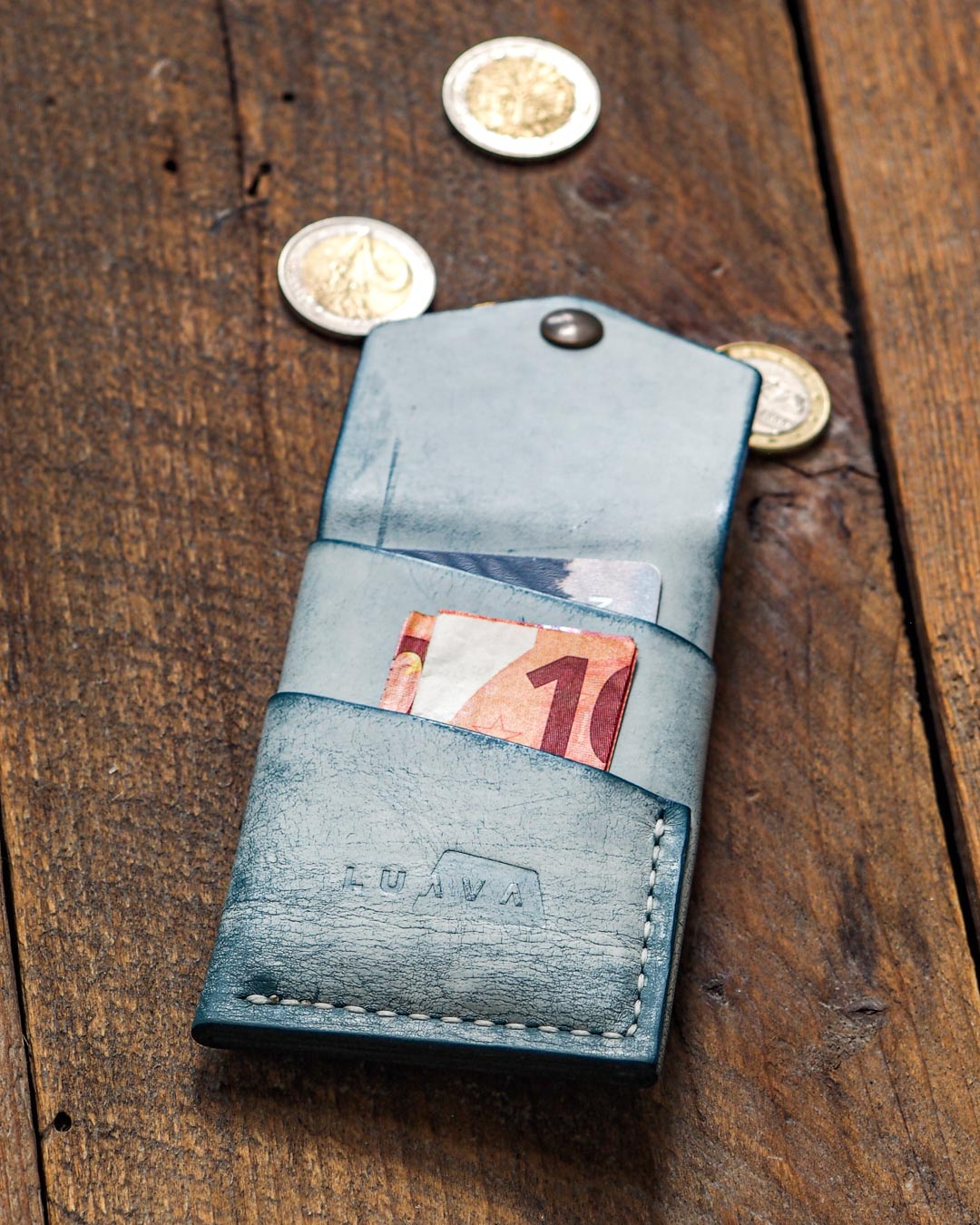 Luava handcrafted leather overfold wallet ghost ocean conceria la bretagna cardholder card holder handmade in finland angle back open in use