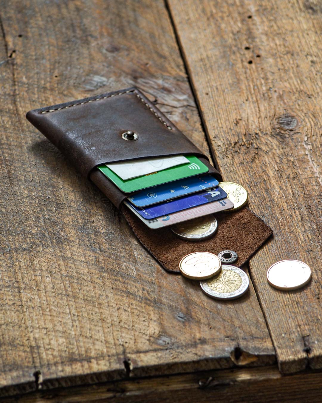 Luava handcrafted leather overfold wallet rustic cardholder card holder handmade in finland angle front open