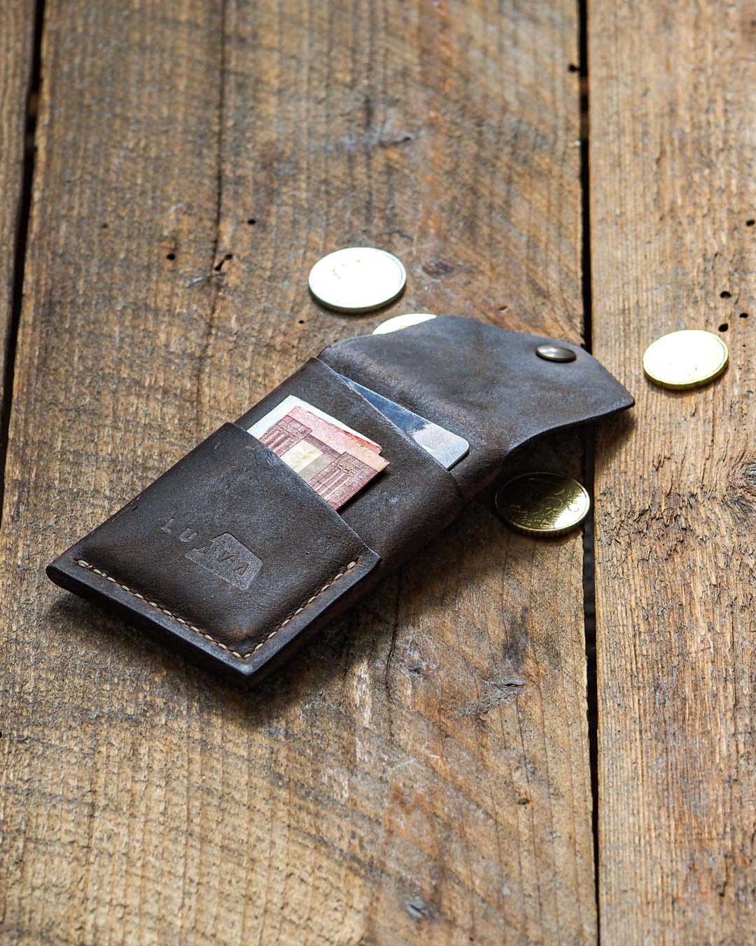 Luava handcrafted leather overfold wallet rustic cardholder card holder handmade in finland angle back open