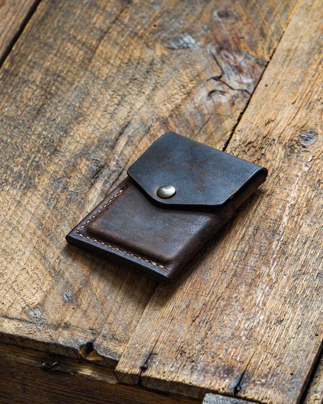 Luava handcrafted leather overfold wallet rustic cardholder card holder handmade in finland angle front