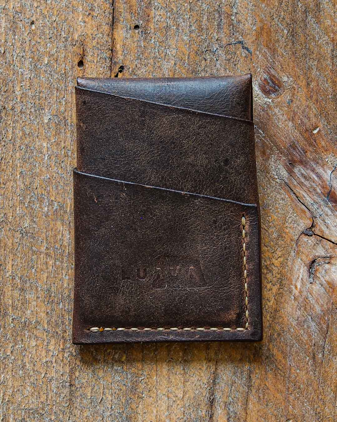 Luava handcrafted leather overfold wallet rustic cardholder card holder handmade in finland back empty
