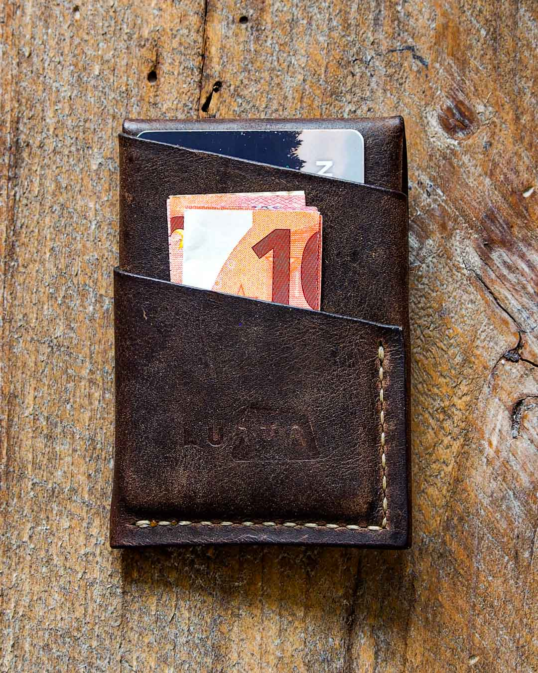 Luava handcrafted leather overfold wallet rustic cardholder card holder handmade in finland back