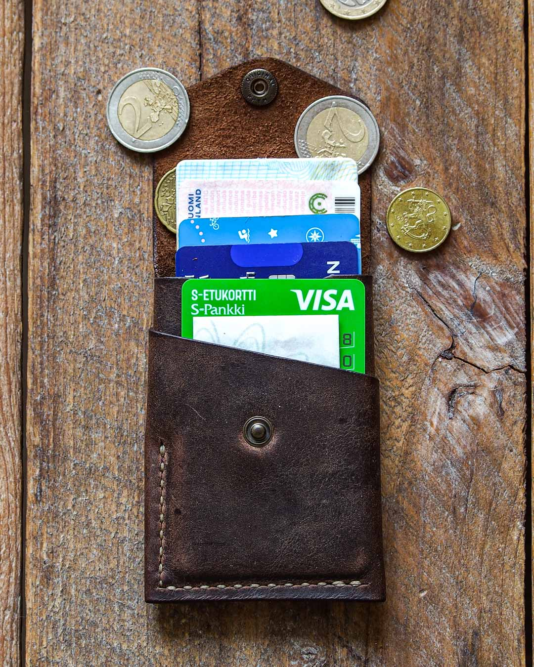 Luava handcrafted leather overfold wallet rustic cardholder card holder handmade in finland front open in use