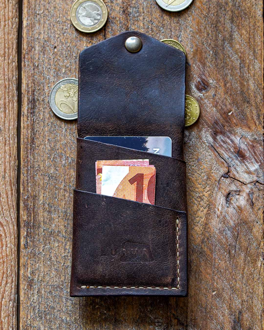 Luava handcrafted leather overfold wallet rustic cardholder card holder handmade in finland back open in use