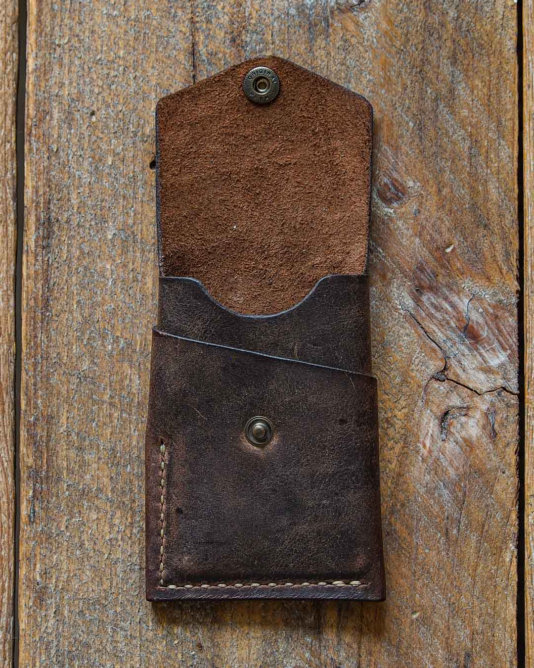 Luava handcrafted leather overfold wallet rustic cardholder card holder handmade in finland front open