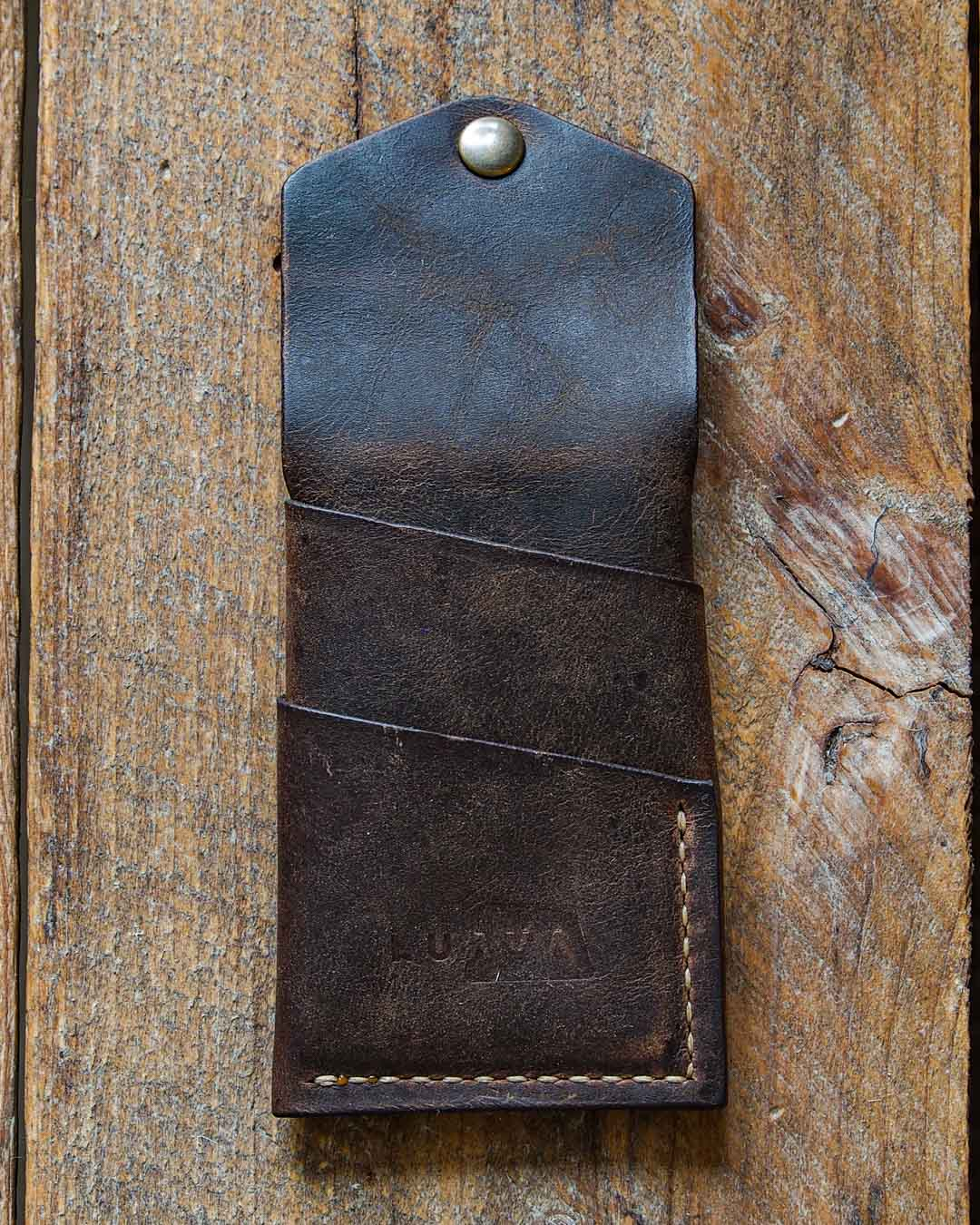 Luava handcrafted leather overfold wallet rustic cardholder card holder handmade in finland back open
