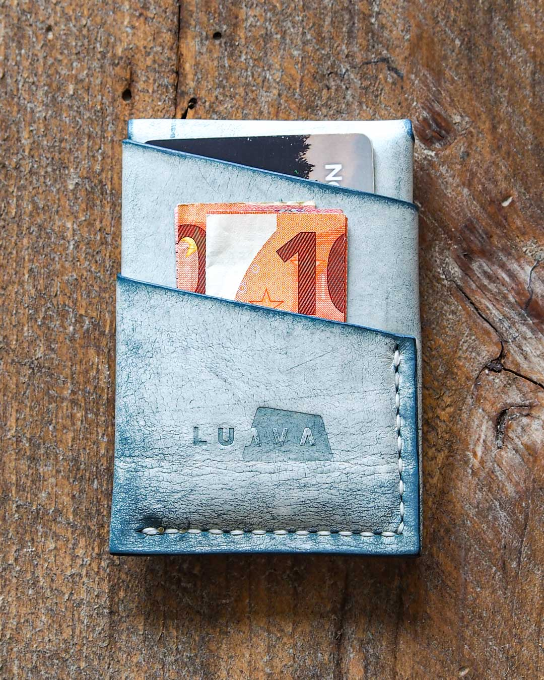 Luava handcrafted leather overfold wallet ghost ocean conceria la bretagna cardholder card holder handmade in finland back closed in use