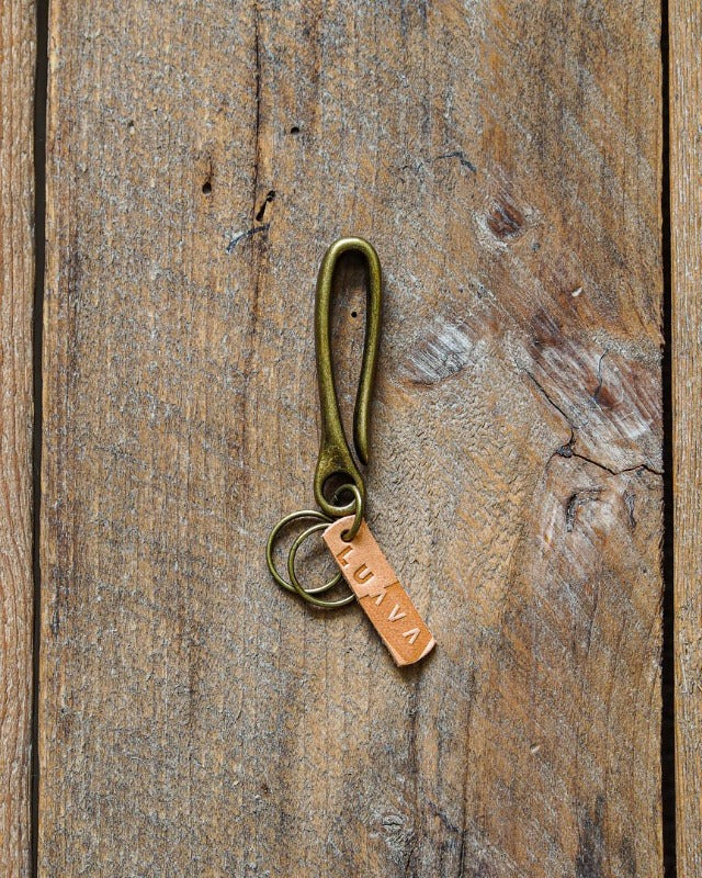 Luava handcrafted japanese brass key hook natural vegetable tanned leather tag brass key ring