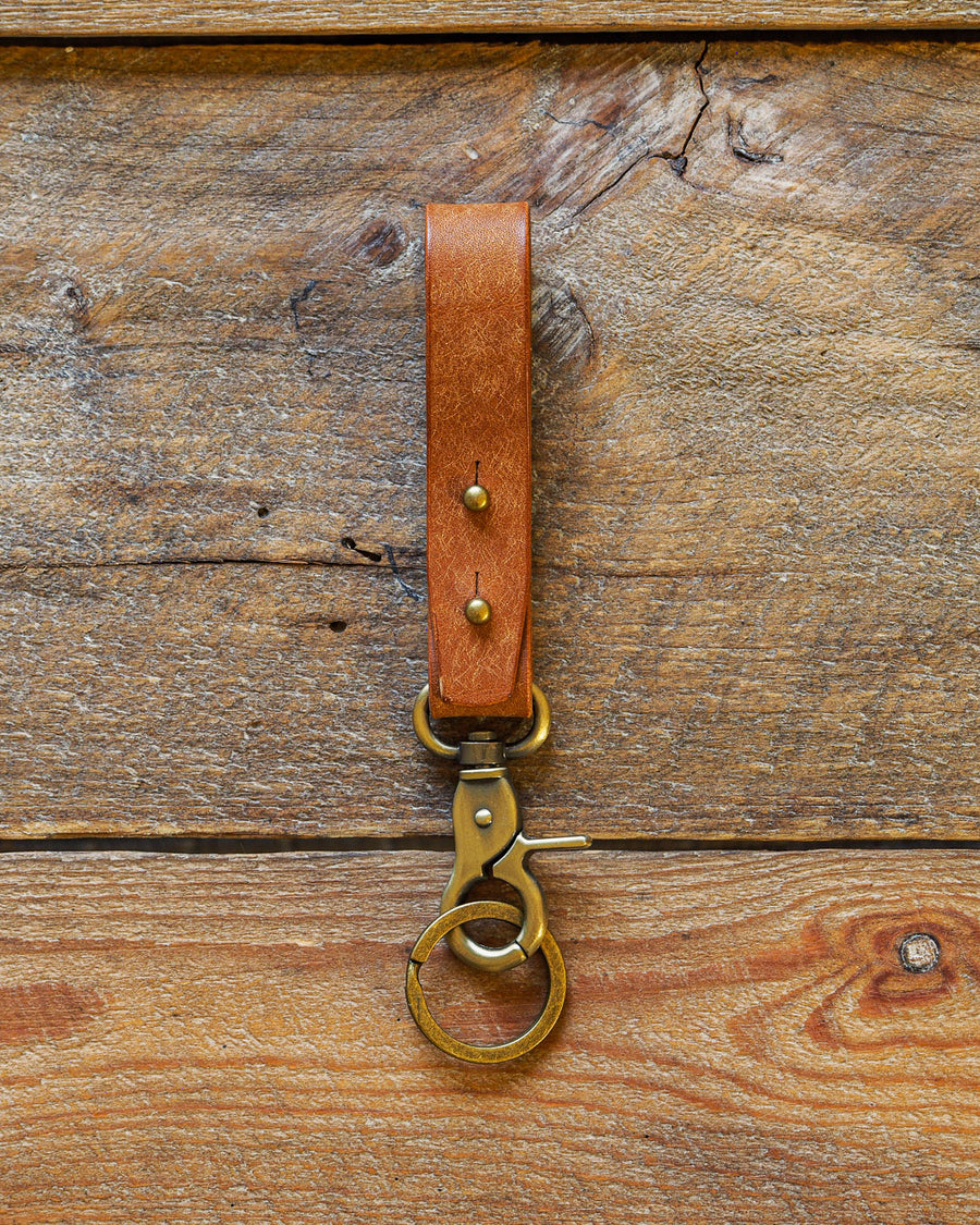 Luava handcrafted leather key fob double vegetable tanned keychain brass keyring clasp metal stud badalassi carlo pueblo leather handmade in finland