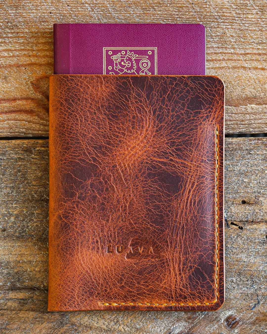 Luava handcrafted leather passport cover badalassi carlo wax cognac in use