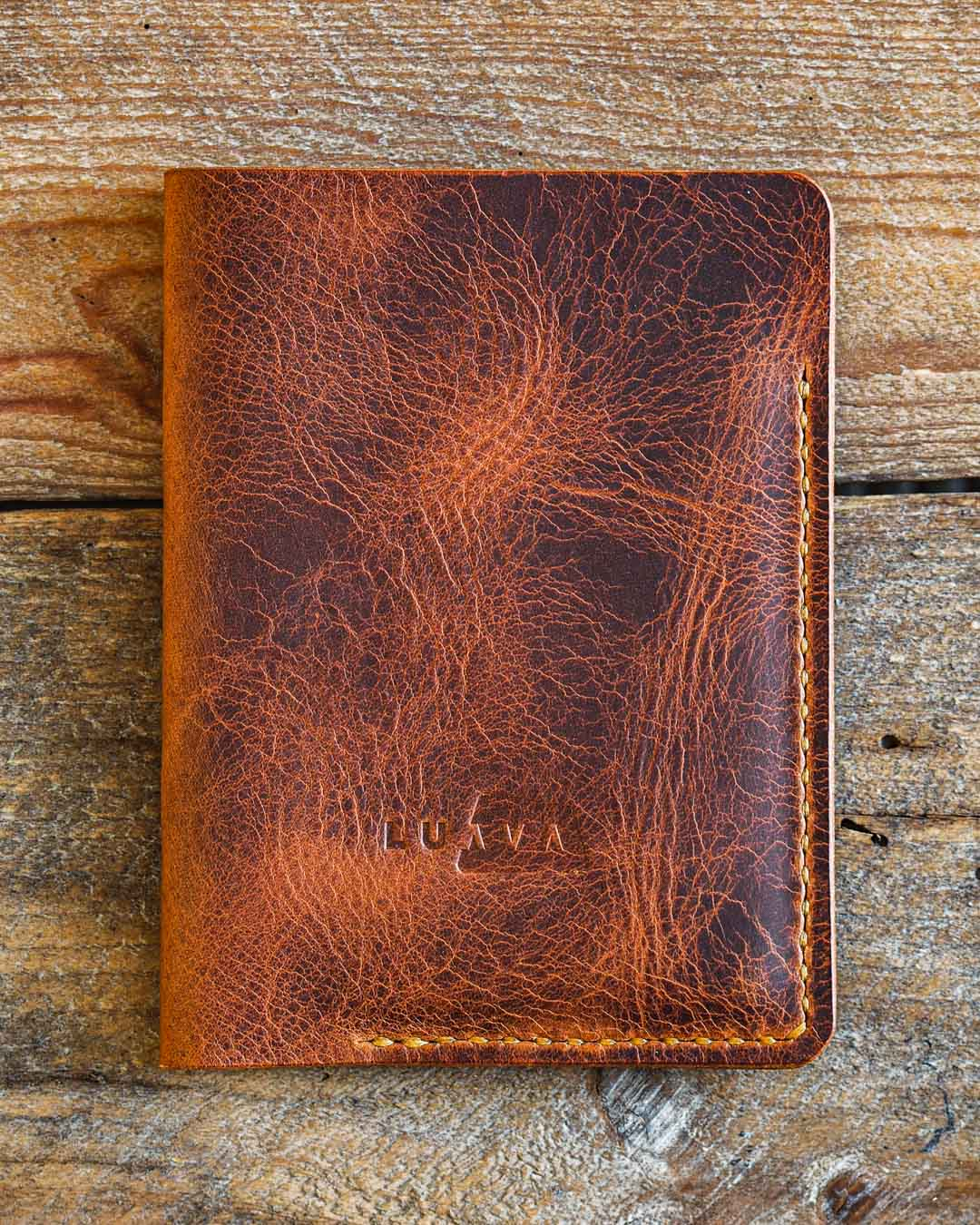 Luava handcrafted leather passport cover badalassi carlo wax cognac