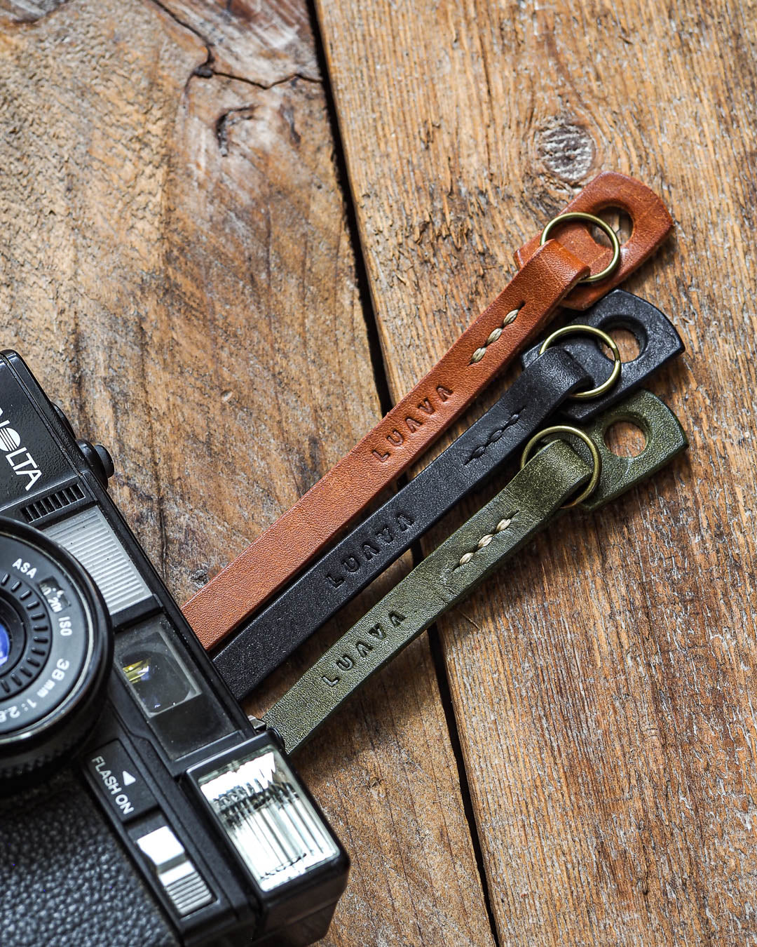 Luava handcrafted leather camera strap adjustable slim pueblo cognac black olive