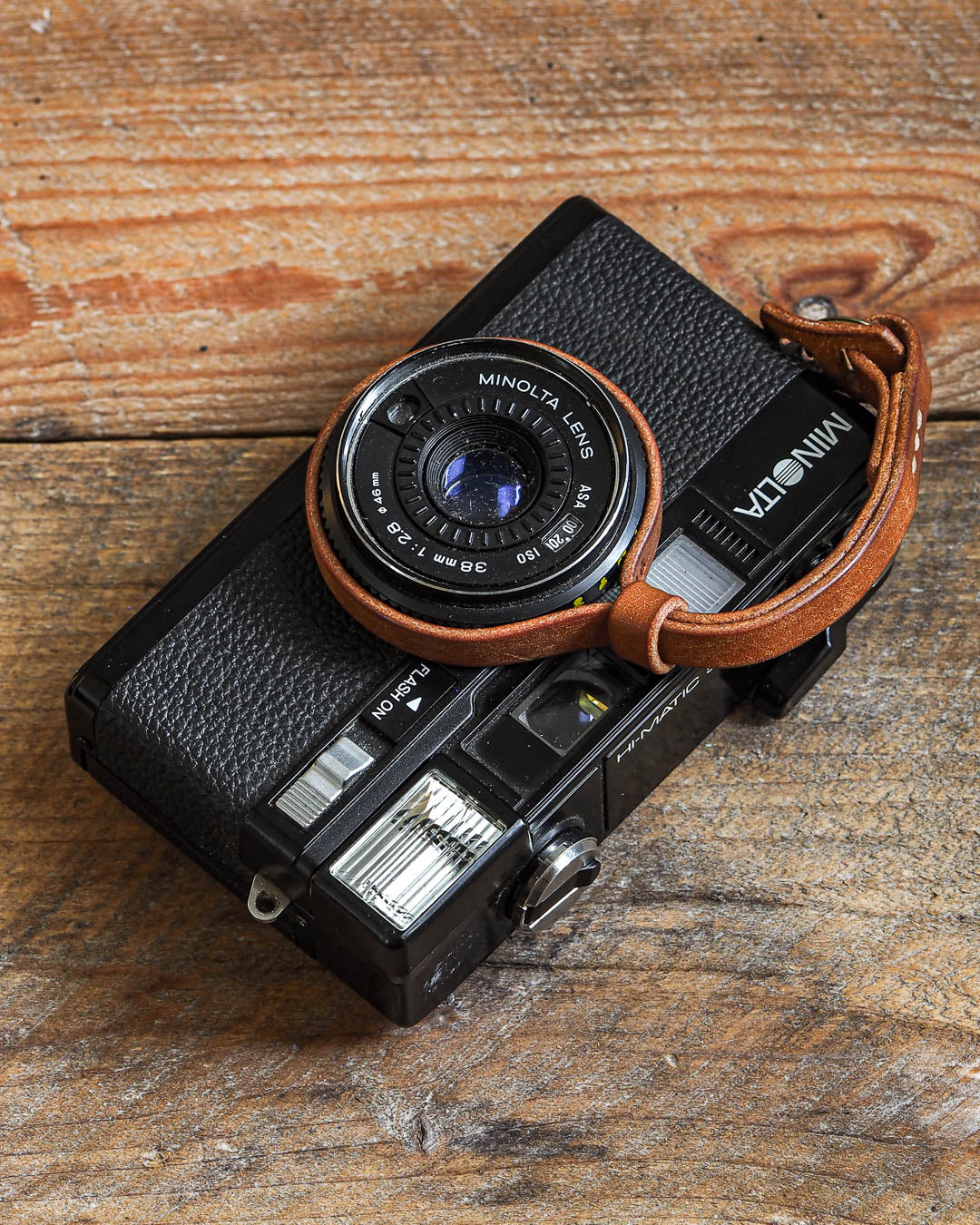 Luava handcrafted leather camera wrist strap slim pueblo cognac