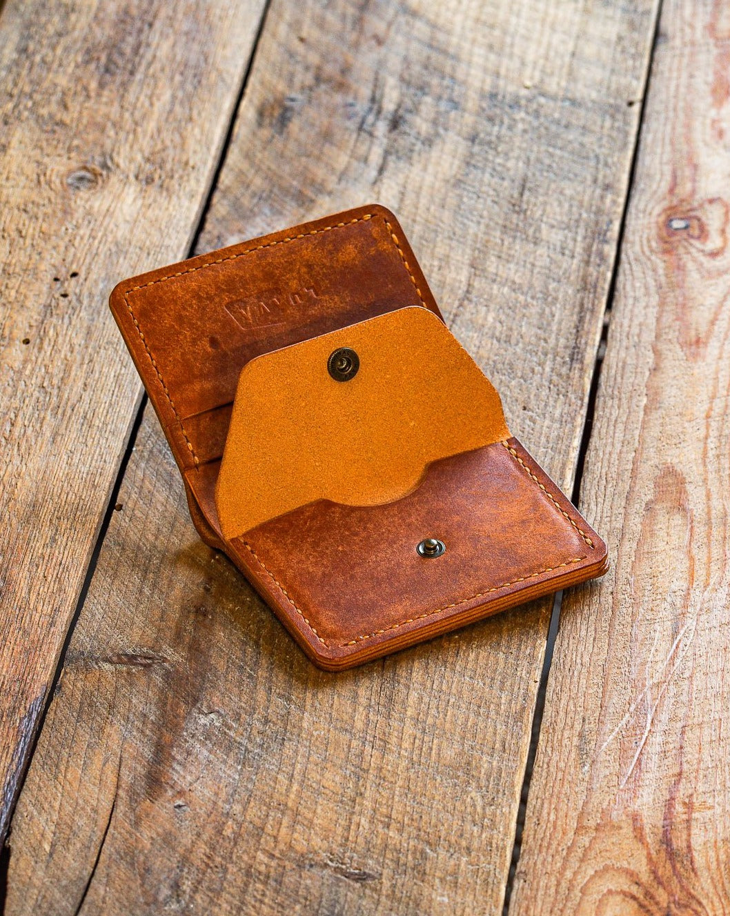 Luava handmade leather wallet KOLOSS pine card holder cardholder handcrafted pecos raw whiskey front open coin pocket
