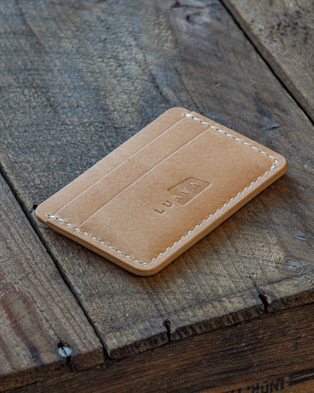 Luava handcrafted handmade leather wallet card holder cardholder maremma nude front angle