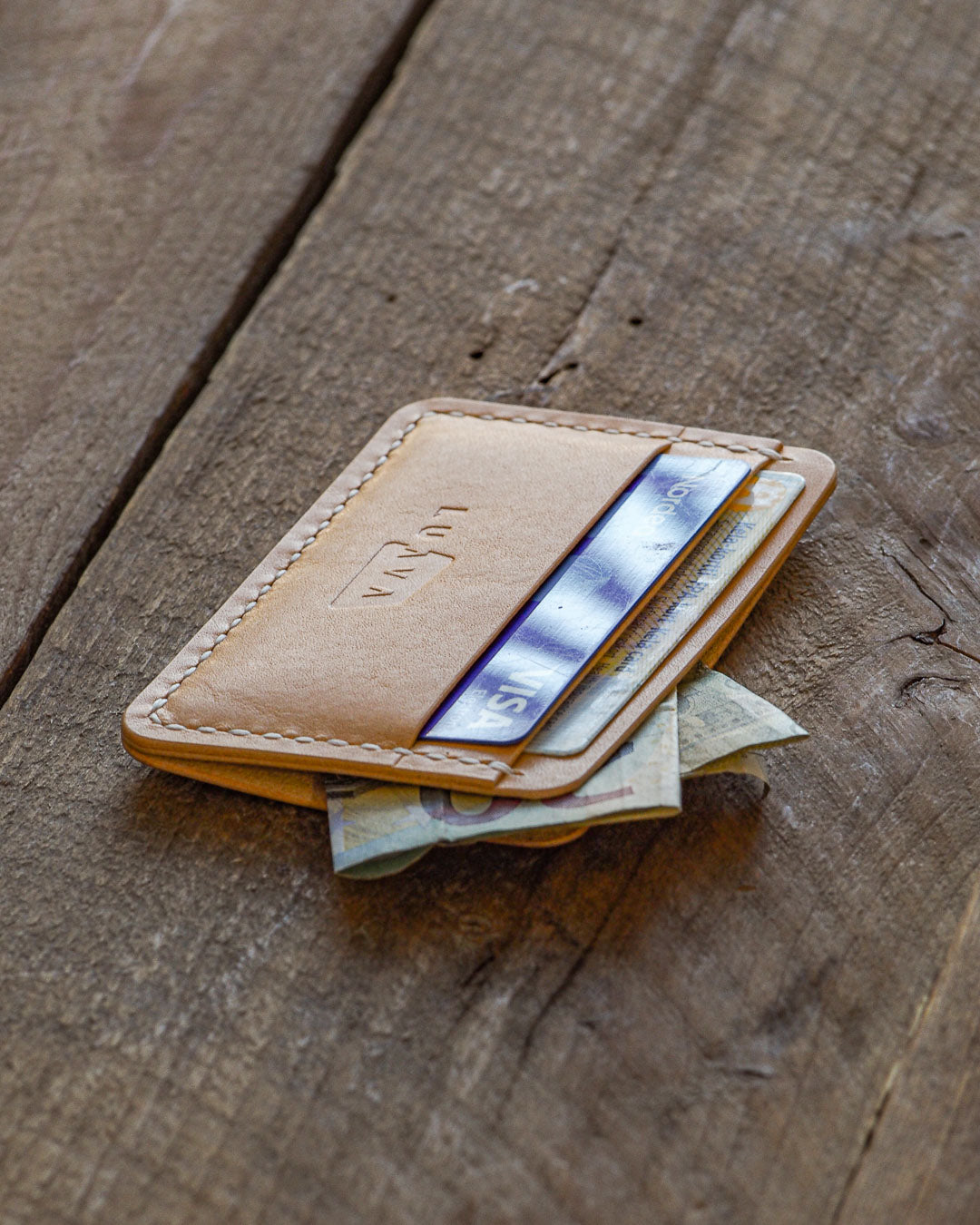 Luava handcrafted handmade leather wallet card holder cardholder maremma nude front angle in use