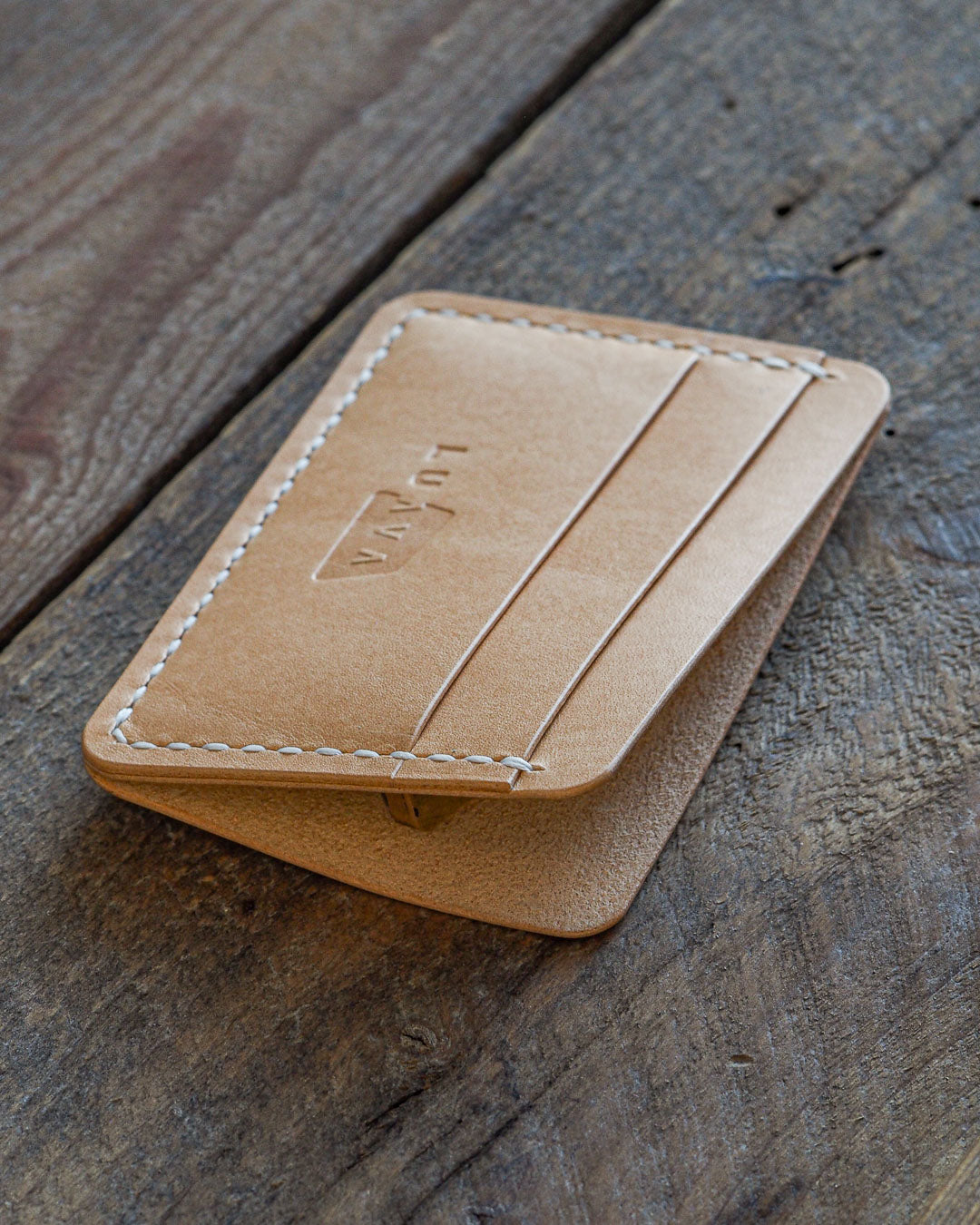 Luava handcrafted handmade leather wallet card holder cardholder maremma nude front open angle