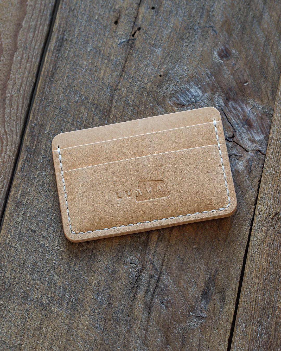Luava handcrafted handmade leather wallet card holder cardholder maremma nude front