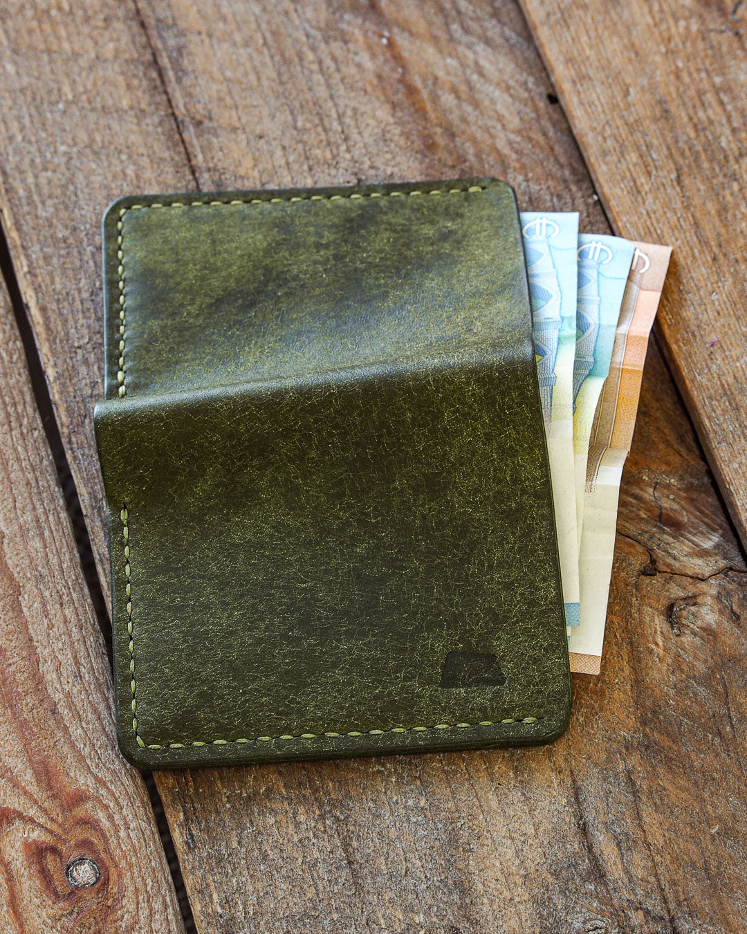 Luava handmade leather wallet NERO card holder cardholder handcrafted pueblo olive black cognac back in use
