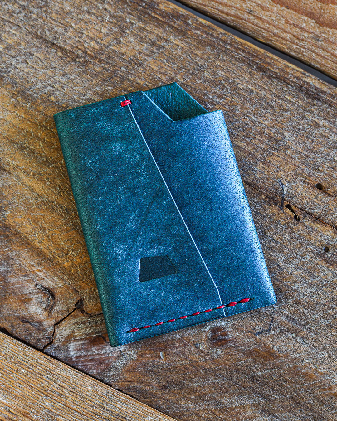 Luava handmade leather wallet handcrafted card holder wrap cardholder made in finland vortex maya turquoise front