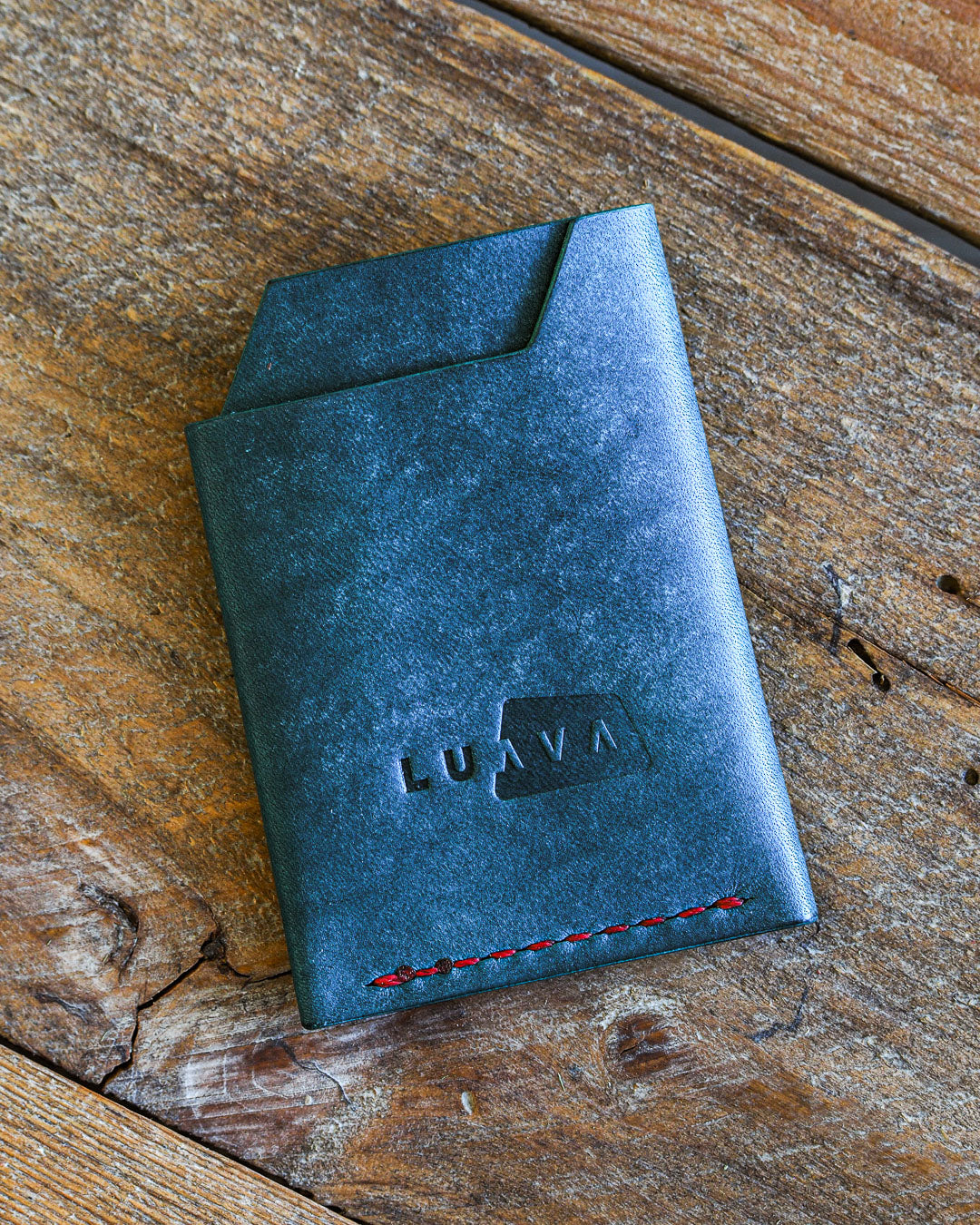 Luava handmade leather wallet handcrafted card holder wrap cardholder made in finland vortex maya turquoise back