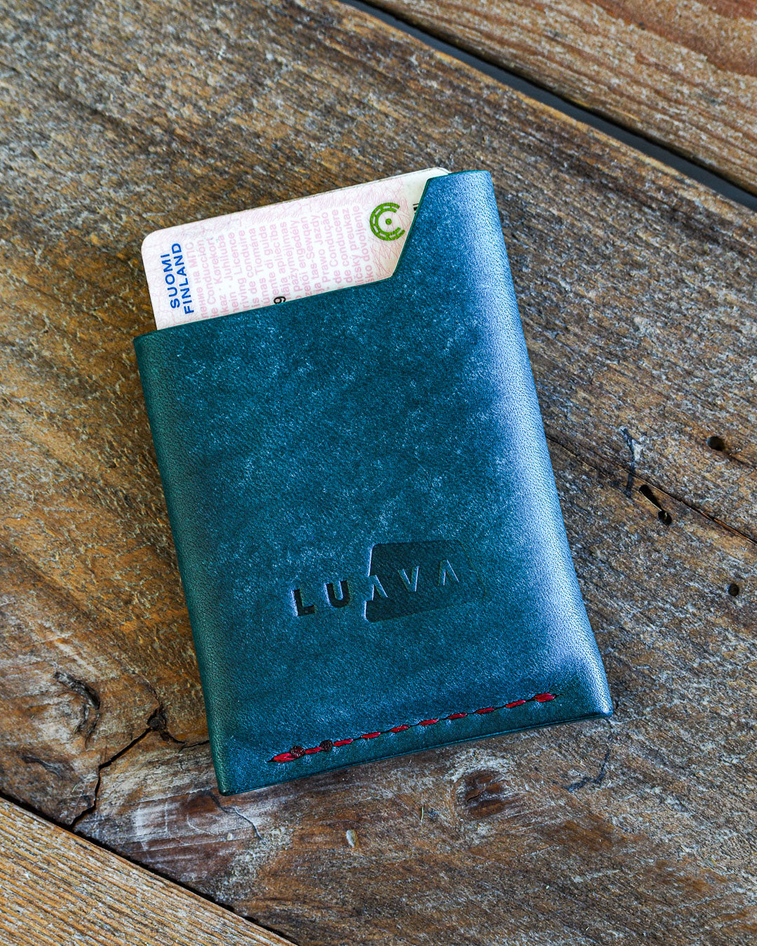 Luava handmade leather wallet handcrafted card holder wrap cardholder made in finland vortex maya turquoise back in use