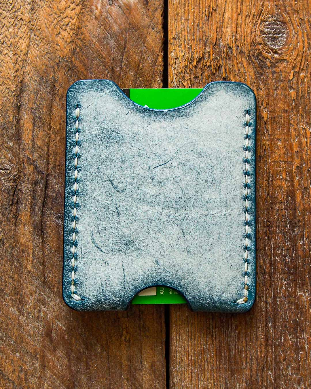 Luava handcrafted leather wallet card holder cardholder cardwallet handmade card sleeve ghost ocean back