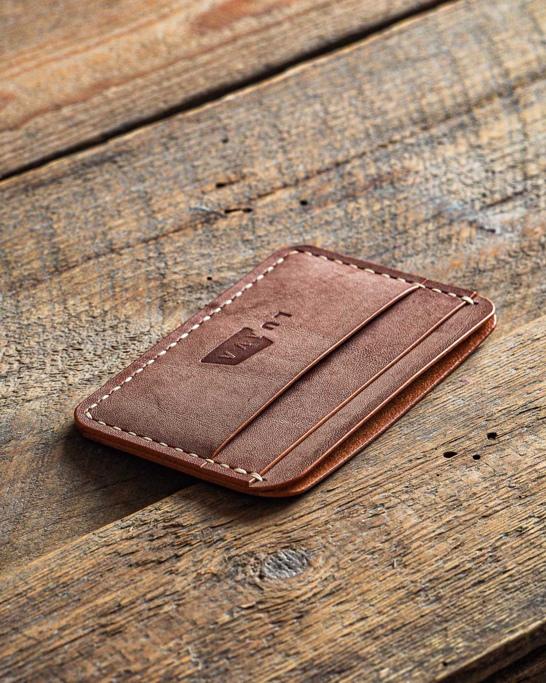 Luava handmade leather wallet handcrafted card holder cardholder made in finland proper ghost whiskey angle