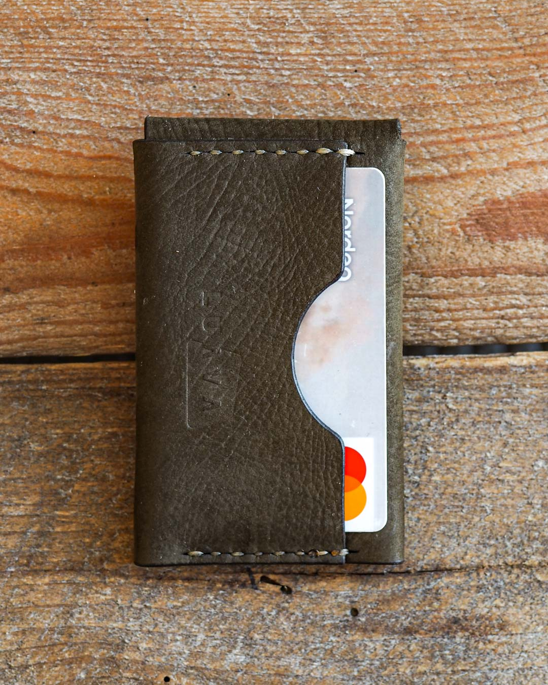 Luava handcrafted leather wallet premium moss back