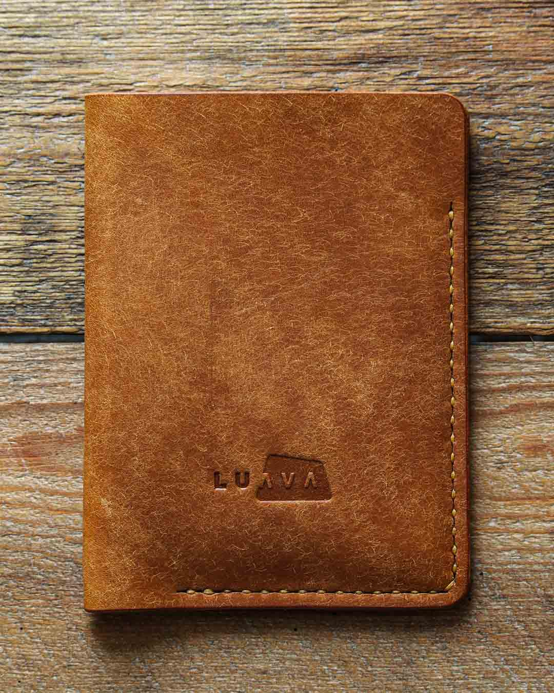 Luava handcrafted leather passport cover pueblo cognac