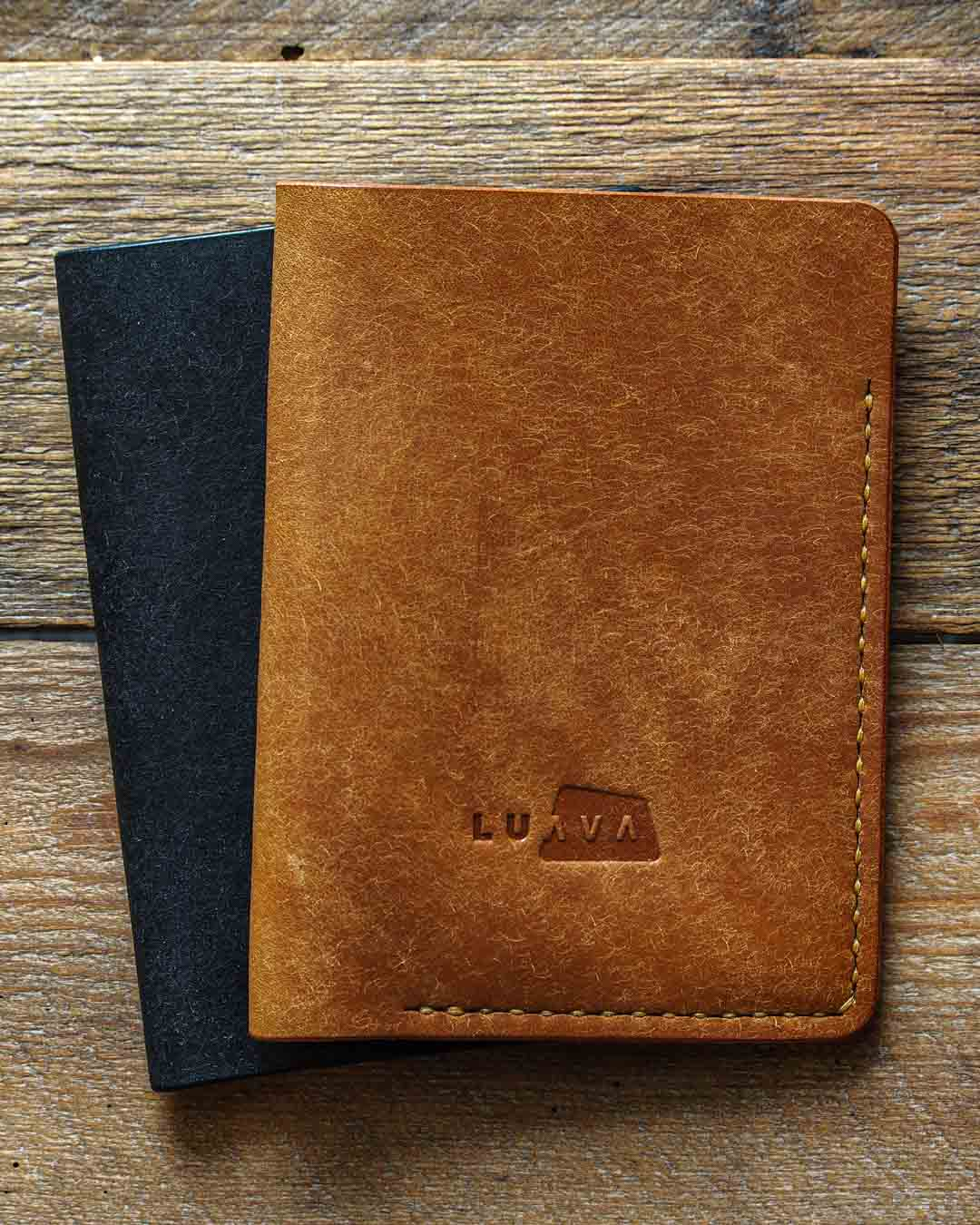 Luava leather passport cover pueblo black cognac