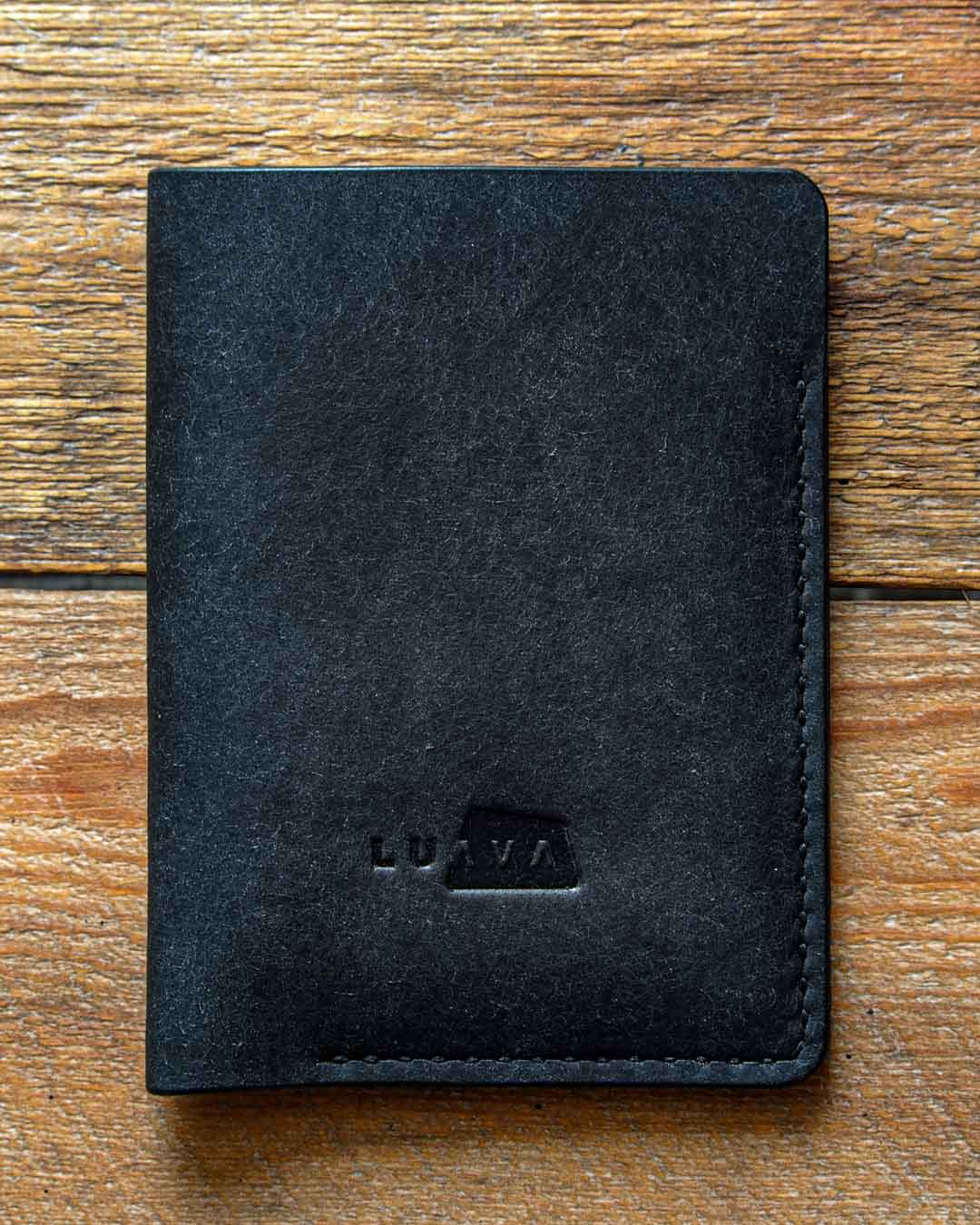 Luava leather passport cover pueblo black