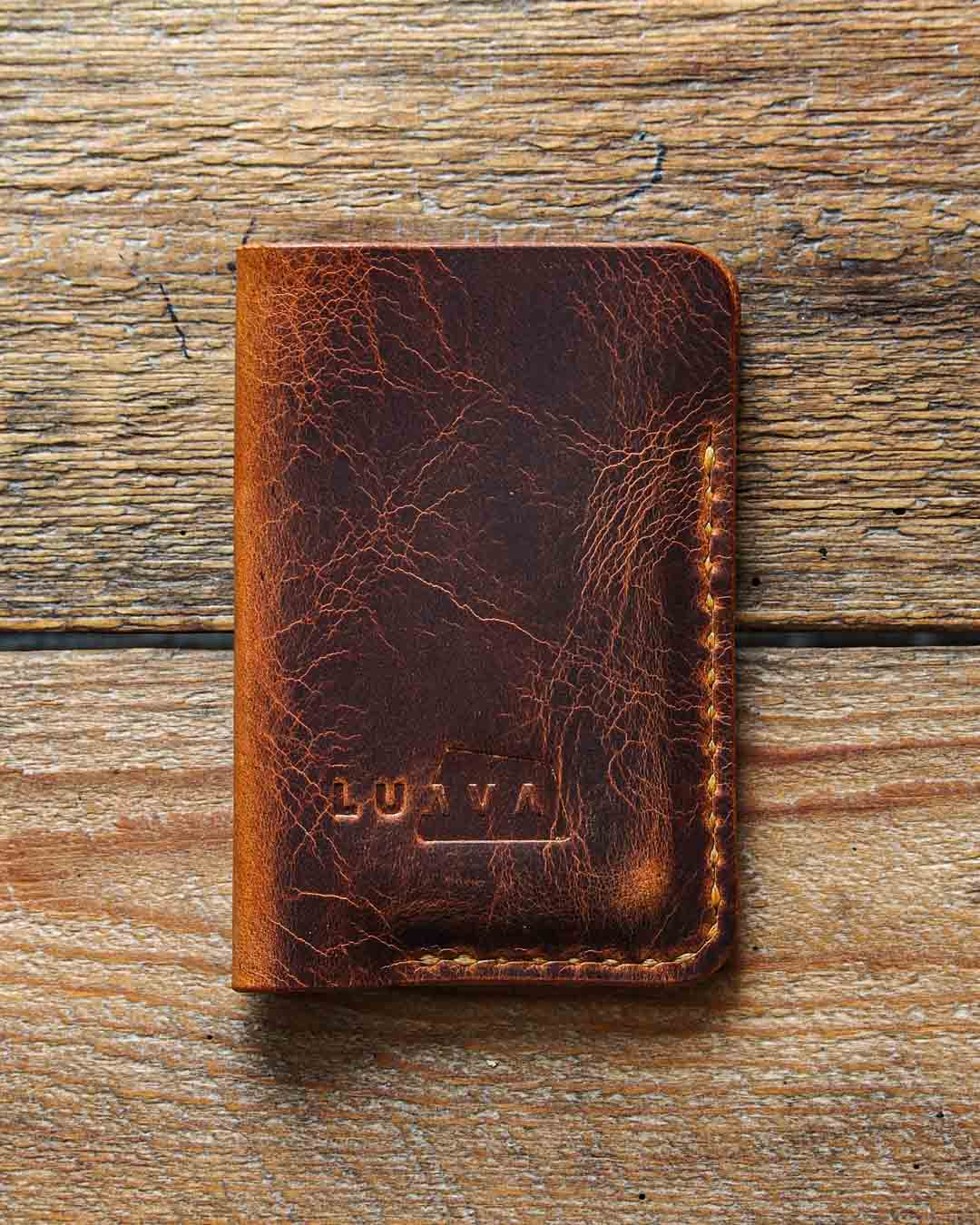 Luava handcrafted leather wallet card holder badalassi carlo wax cognac