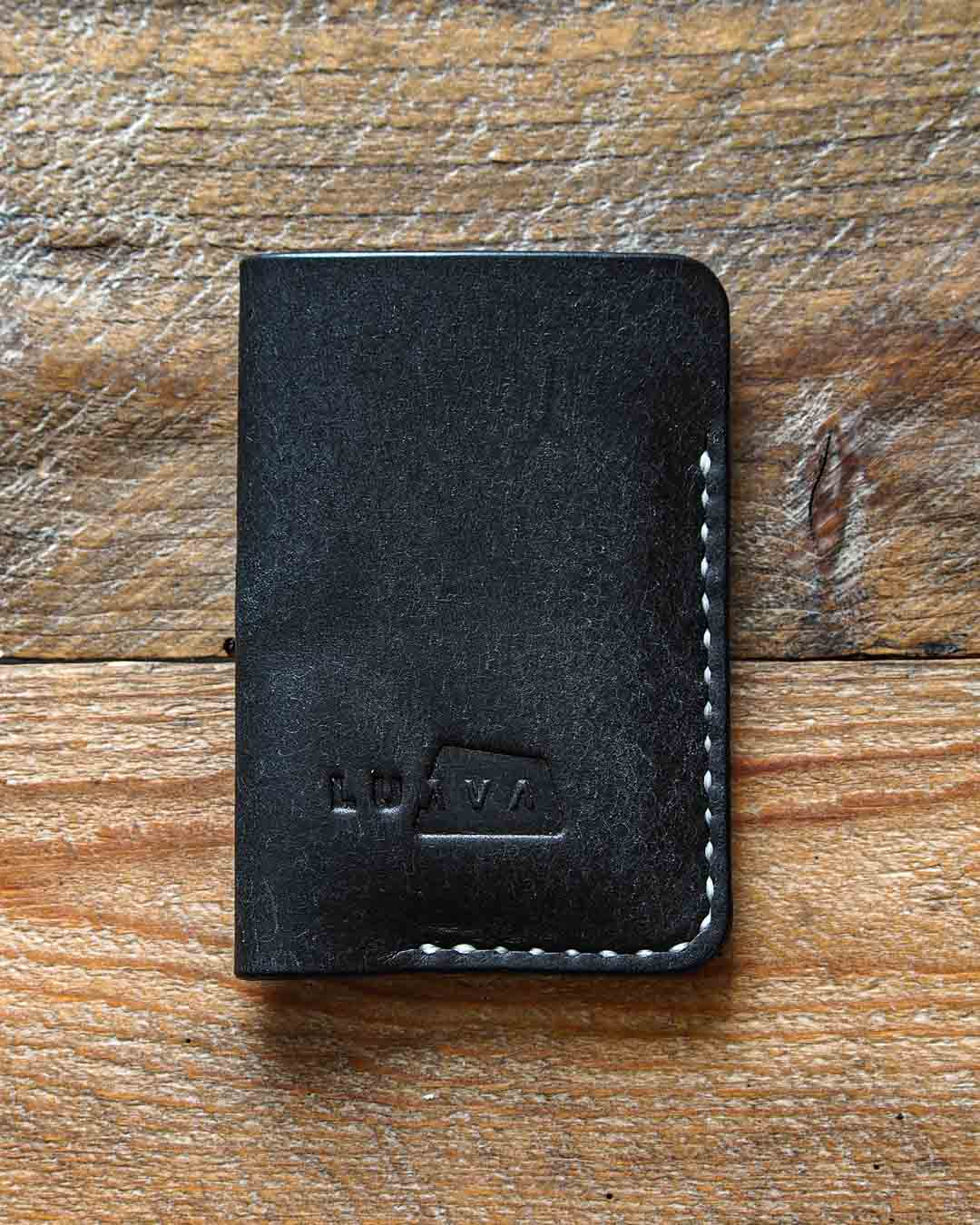 Luava leather card holder pueblo black wallet white thread