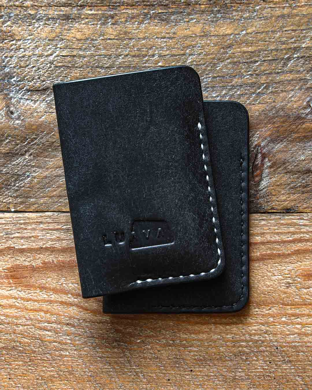 Luava leather card holder pueblo black wallet both threads