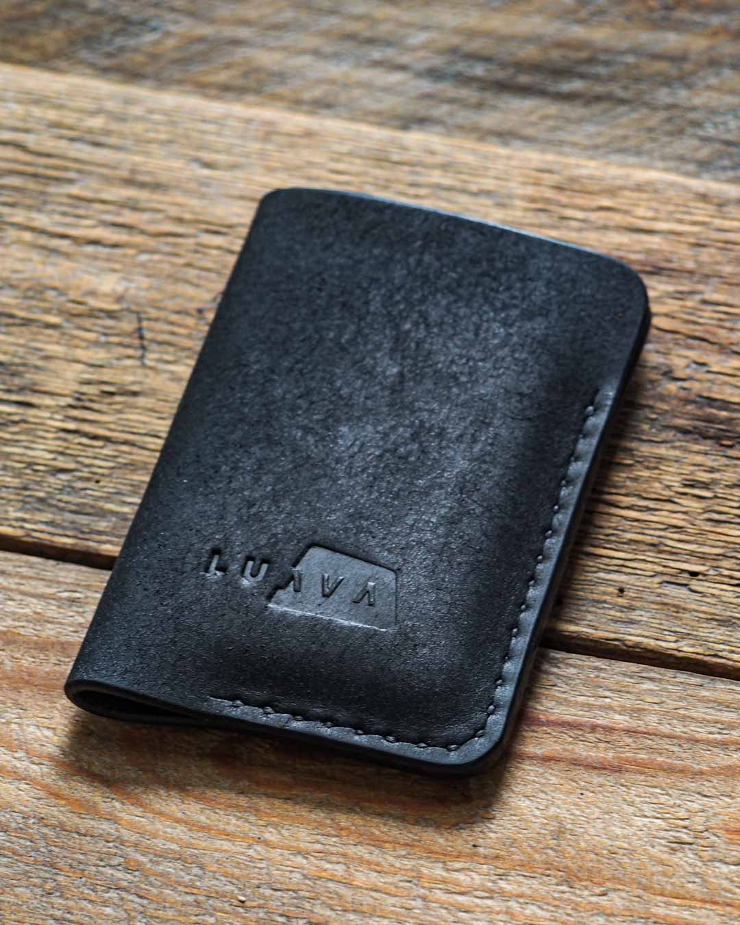 Luava leather card holder pueblo black wallet angle