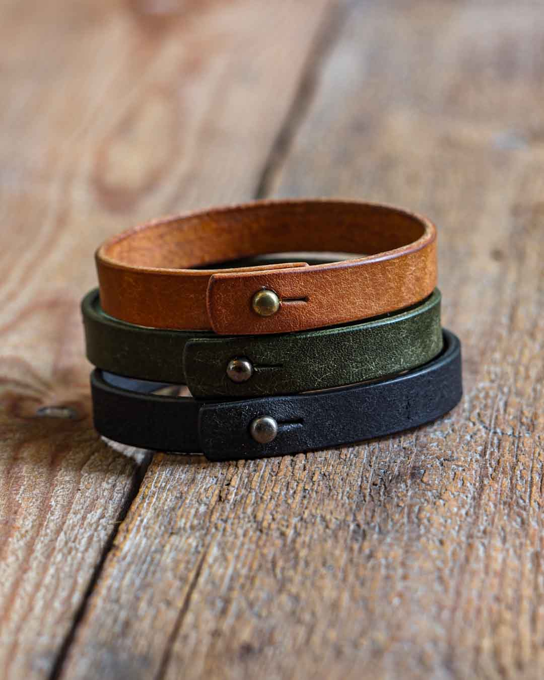 Luava handcrafted leather wrist band veg tan badalassi carlo pueblo single all colors