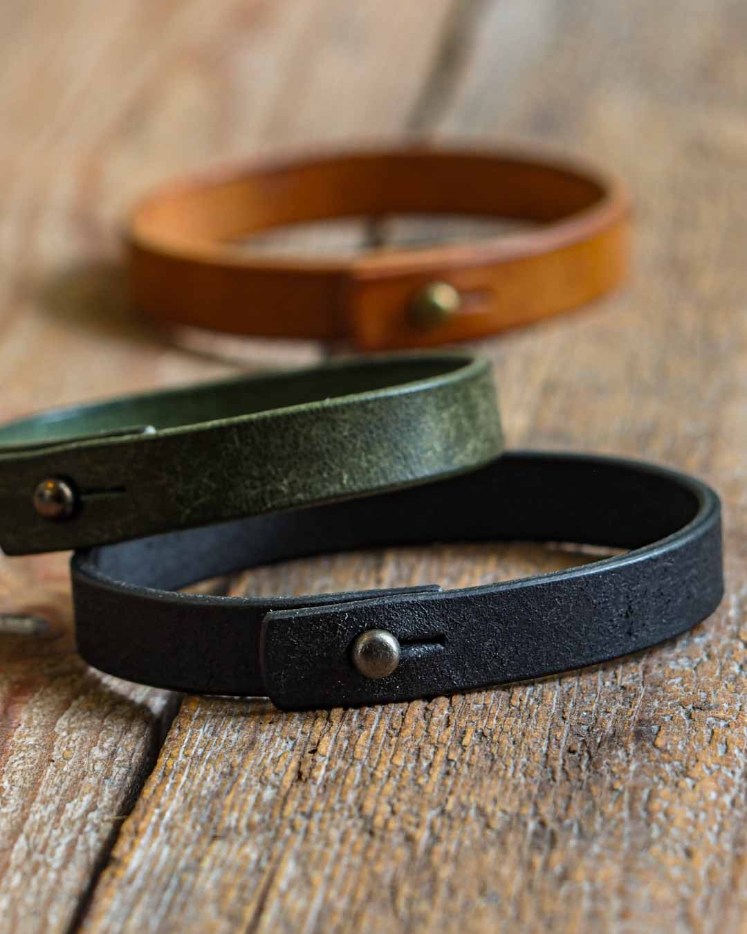 Luava handcrafted leather wrist band veg tan badalassi carlo pueblo cognac single all colors