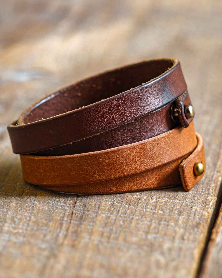 Luava leather double wrist band badalassi carlo pueblo cognac