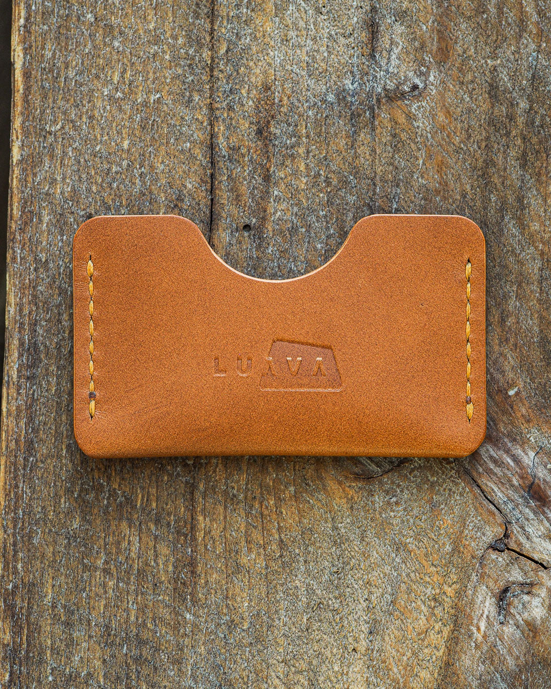 Luava handmade leather wallet handcrafted card holder cardholder made in finland absolute gold koala cognac thread back