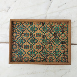 Chequered Block print Cork tray