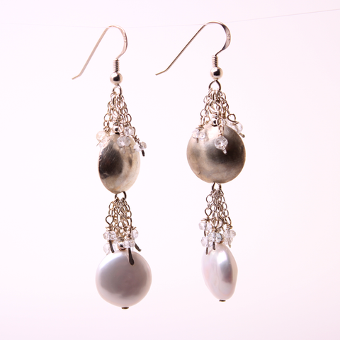 Pearl earrings with Topaz and handmade silver beads