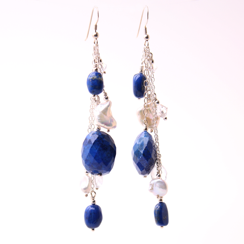Pearl earrings with Lapis and silver