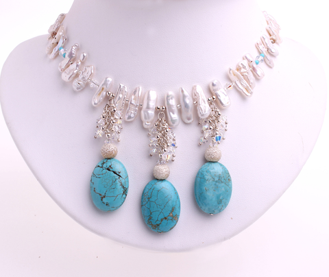 Biwa pearls and Turquoise necklace