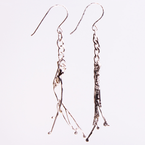 Eco silver twig earrings
