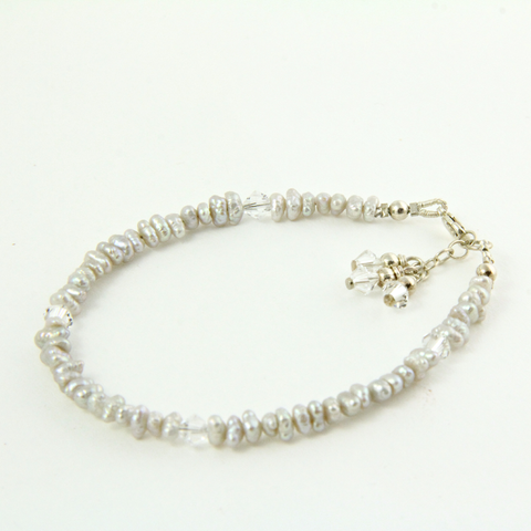 Grey pearl and Swarovski bracelet