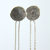 Tipot (Drops) Recycled Silver and Keshi Pearl Earrings with hammered silver studs and sterling silver earring backs